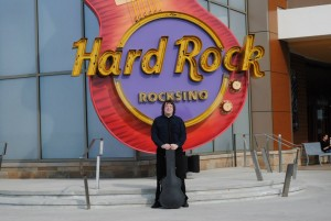 Jeff in front of Hard Rock sign